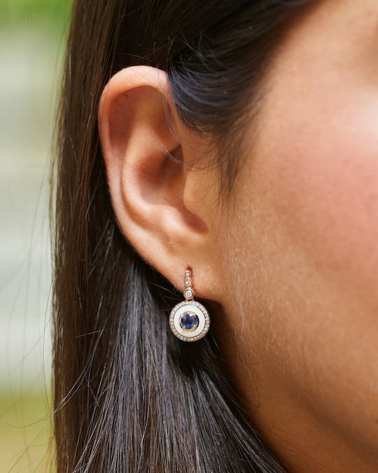 Selim Mouzannar Enamel, Diamond & Tanzanite Earrings 1