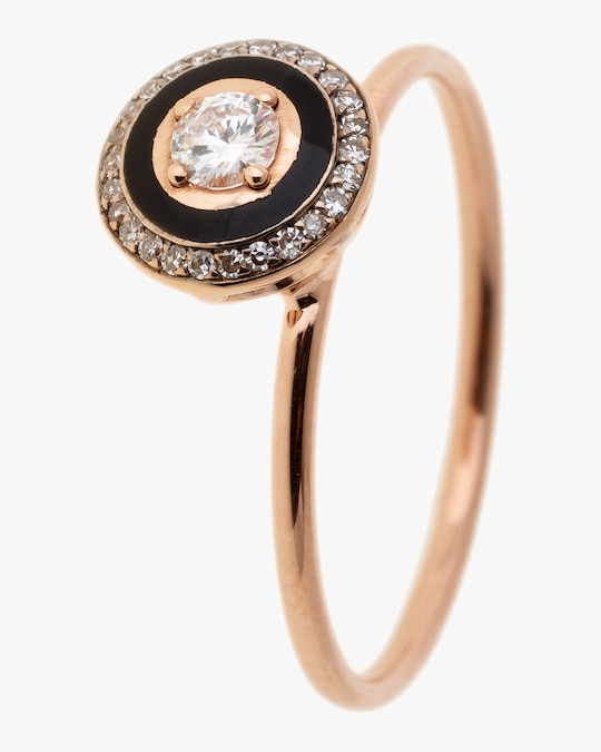 Selim Mouzannar Black Enamel & Diamond Round Ring 0