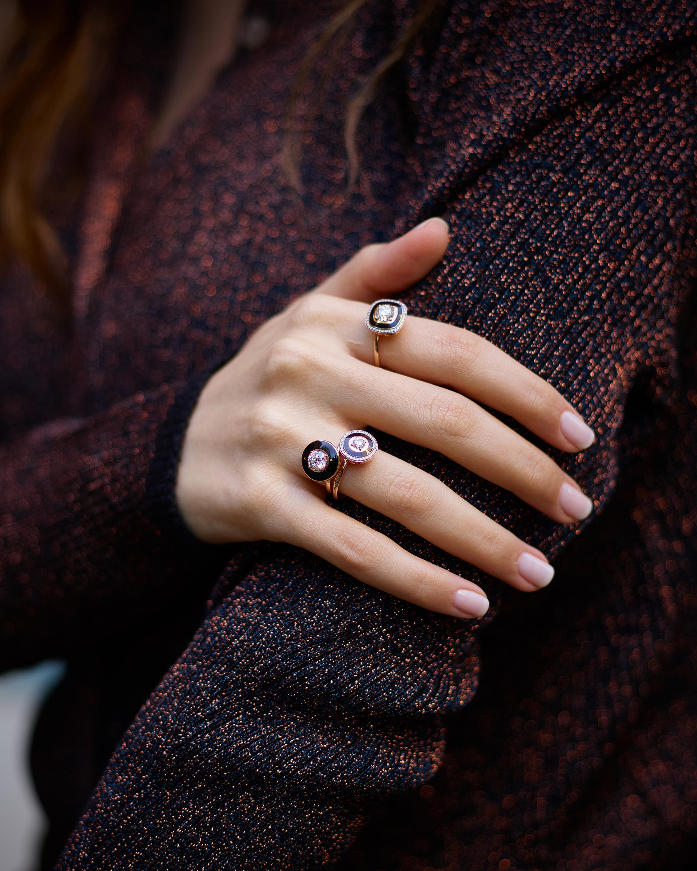 Black Enamel And Diamond Ring
