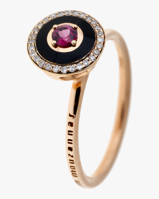 Black Enamel Rhodolite And Diamond Ring