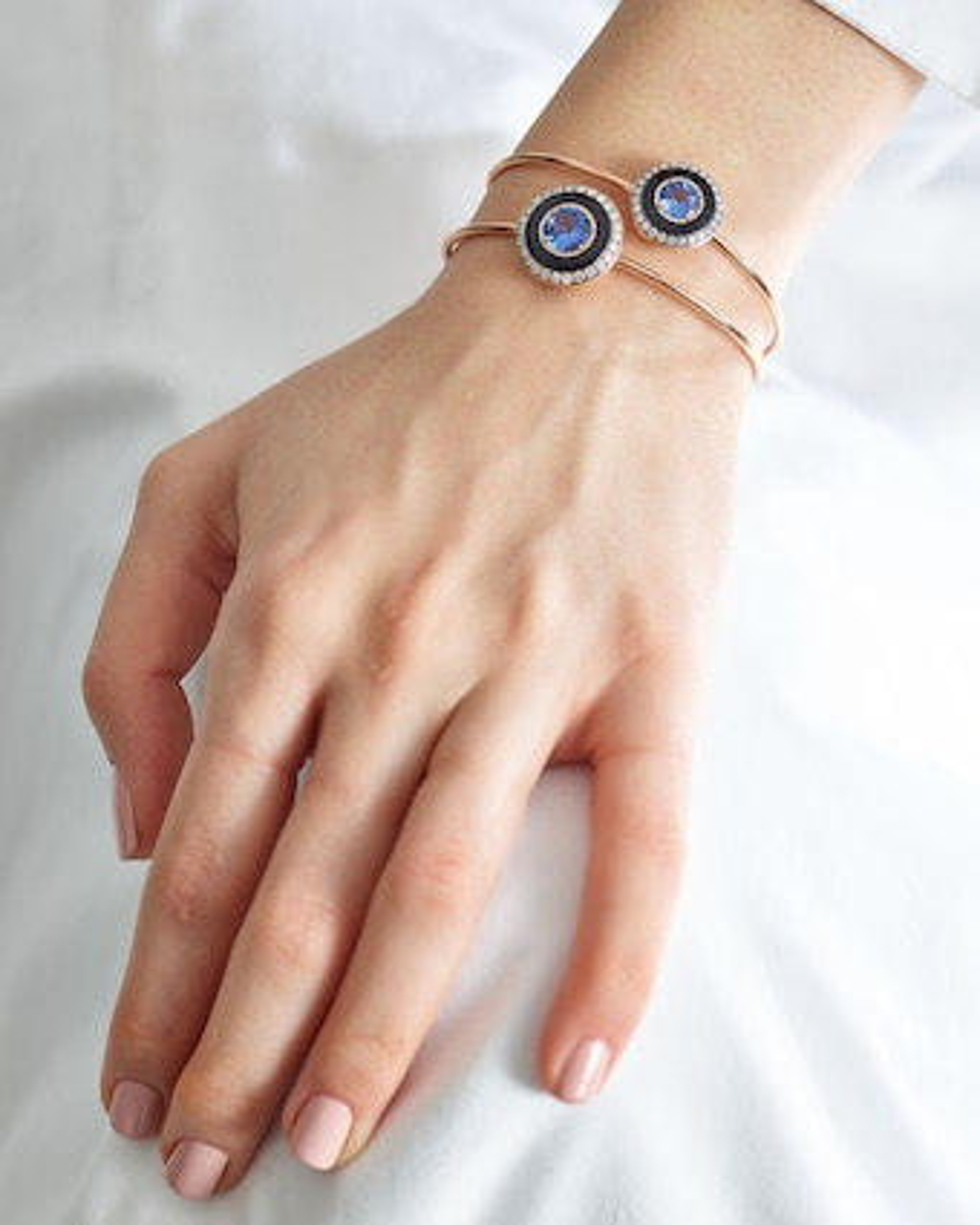 Black Enamel Sapphire And Diamond Bracelet