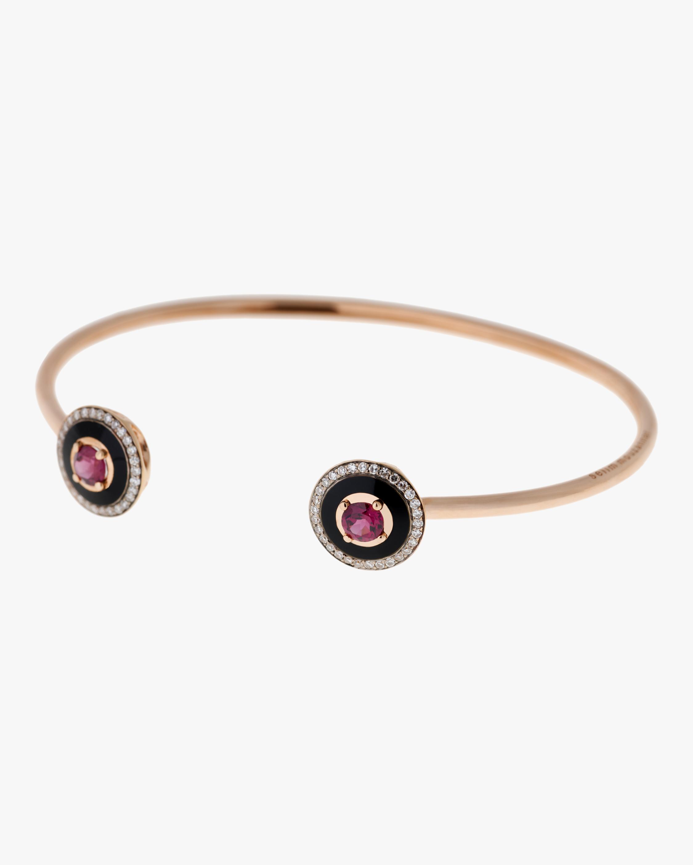 Black Enamel Rhodolite And Diamond Bracelet