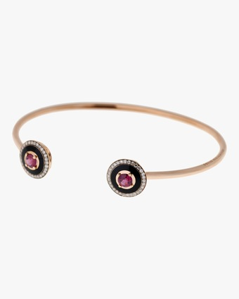 Selim Mouzannar Black Enamel Rhodolite And Diamond Bracelet 2