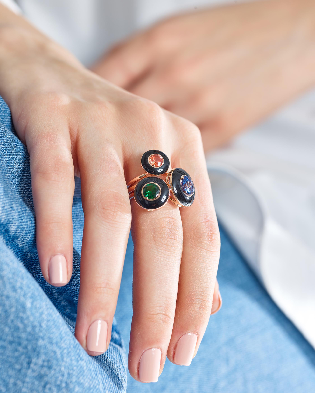 Selim Mouzannar Black Enamel, Sapphire & Diamond Ring 1