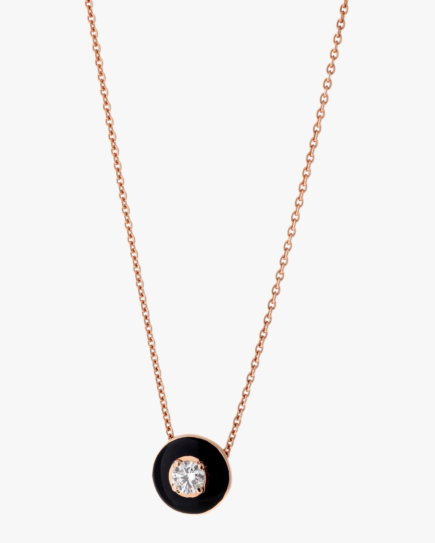 Black Enamel And Diamond Pendant Necklace