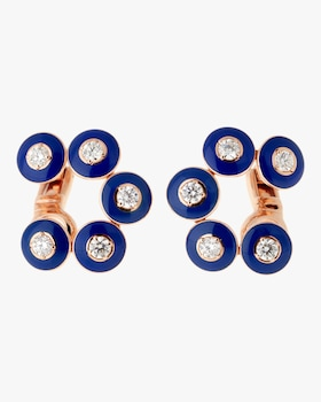 Dark Blue Enamel And Diamond Earrings