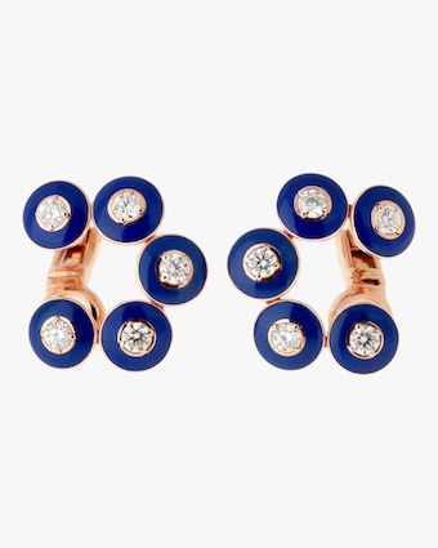 Selim Mouzannar Dark Blue Enamel And Diamond Earrings 2