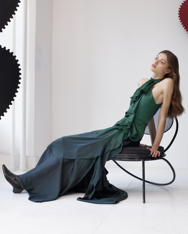 Silk Ruffled Dress