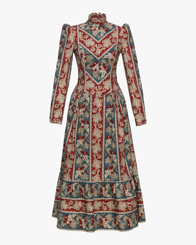 Prairie Printed High Neck Midi Dress