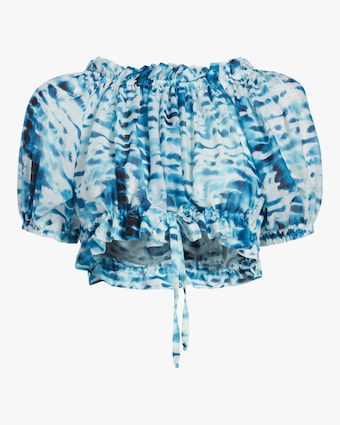 Cropped Ruffle Tie Dye Top