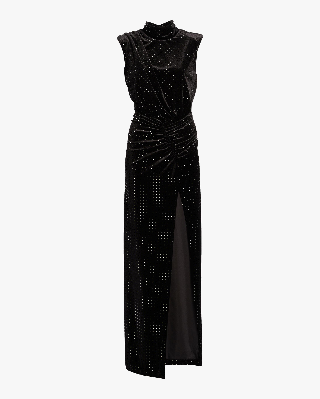 Venette Studded Velvet Slit Dress