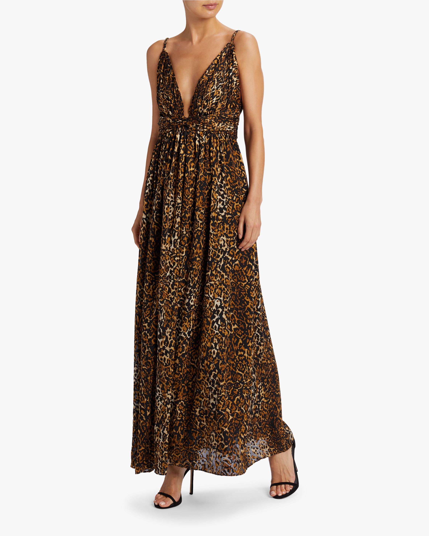 Edita Leopard Satin Burnout Maxi Dress
