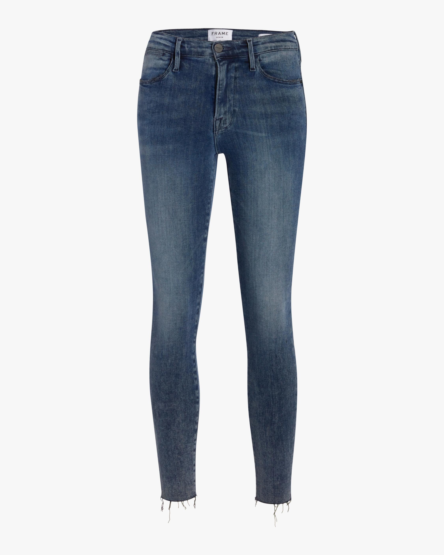 High-Rise Raw Edge Skinny Jeans