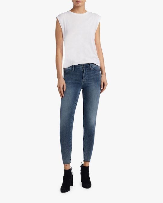 Frame High-Rise Raw Edge Skinny Jeans 1