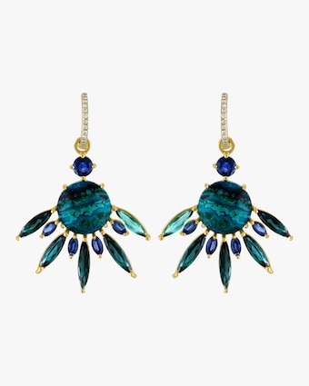 Malachite Azurite Tourmaline Fan Earrings