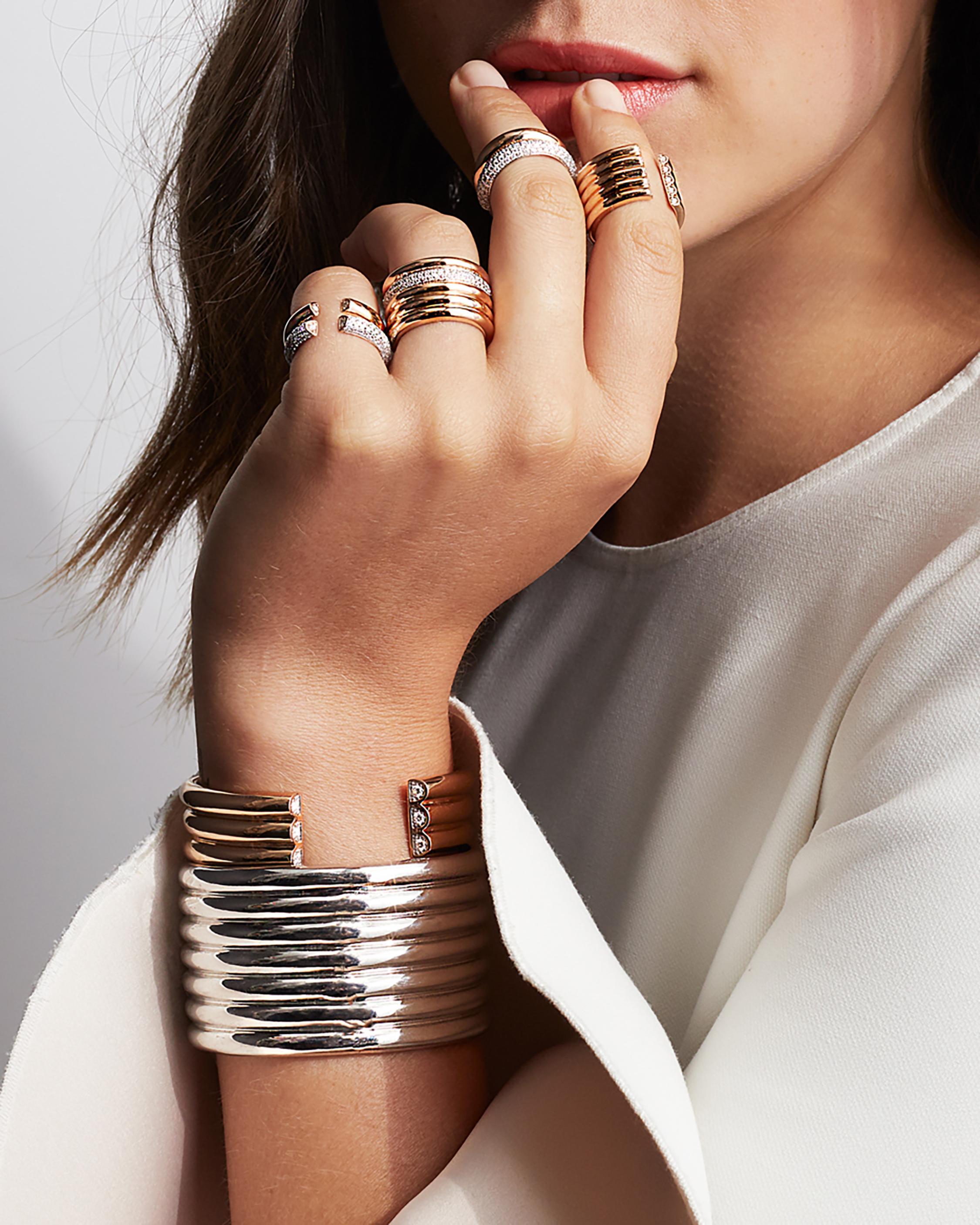 Thoby Diamond Tubular Cuff Bracelet