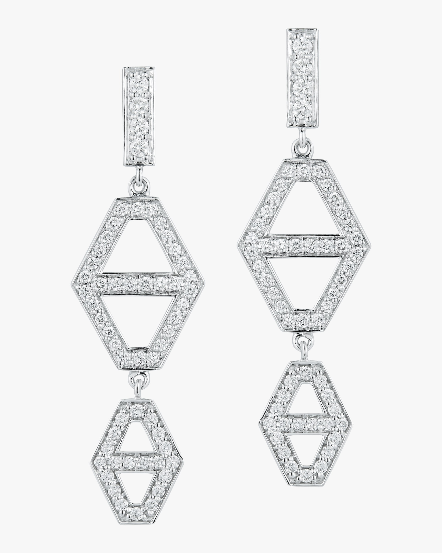Walters Faith Keynes Diamond Hexagon Drop Earrings   Diamonds In White Gold