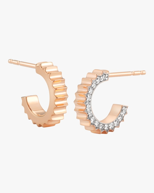 Walters Faith Clive Diamond Fluted Huggie Earrings 0