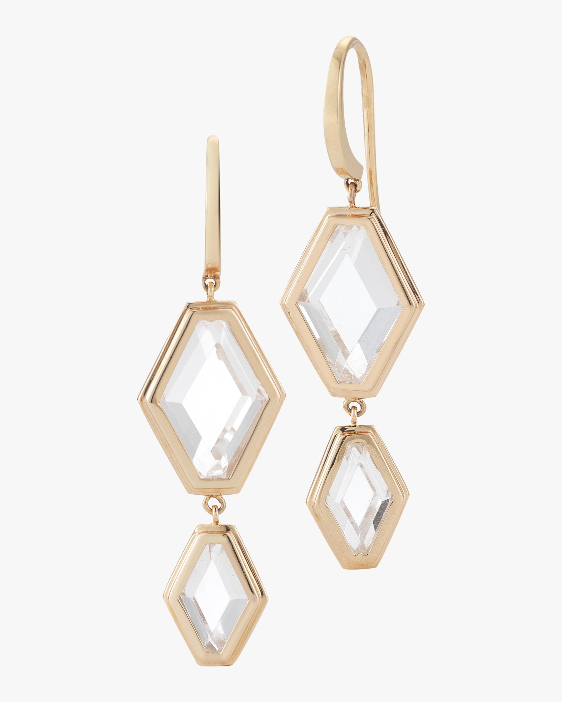 Walters Faith Bell Rock Crystal Two Drop Earrings | Diamonds/rose Gold