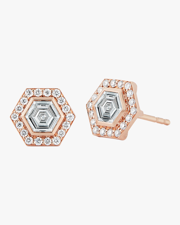 Walters Faith Keynes Diamond Hexagonal Studs   Gemstones/rose Gold