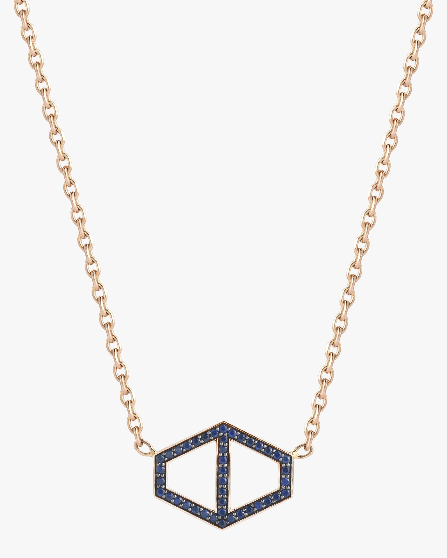 Walters Faith Keynes Blue Sapphire Hexagon Necklace   Gemstones/rose Gold/yellow Gold