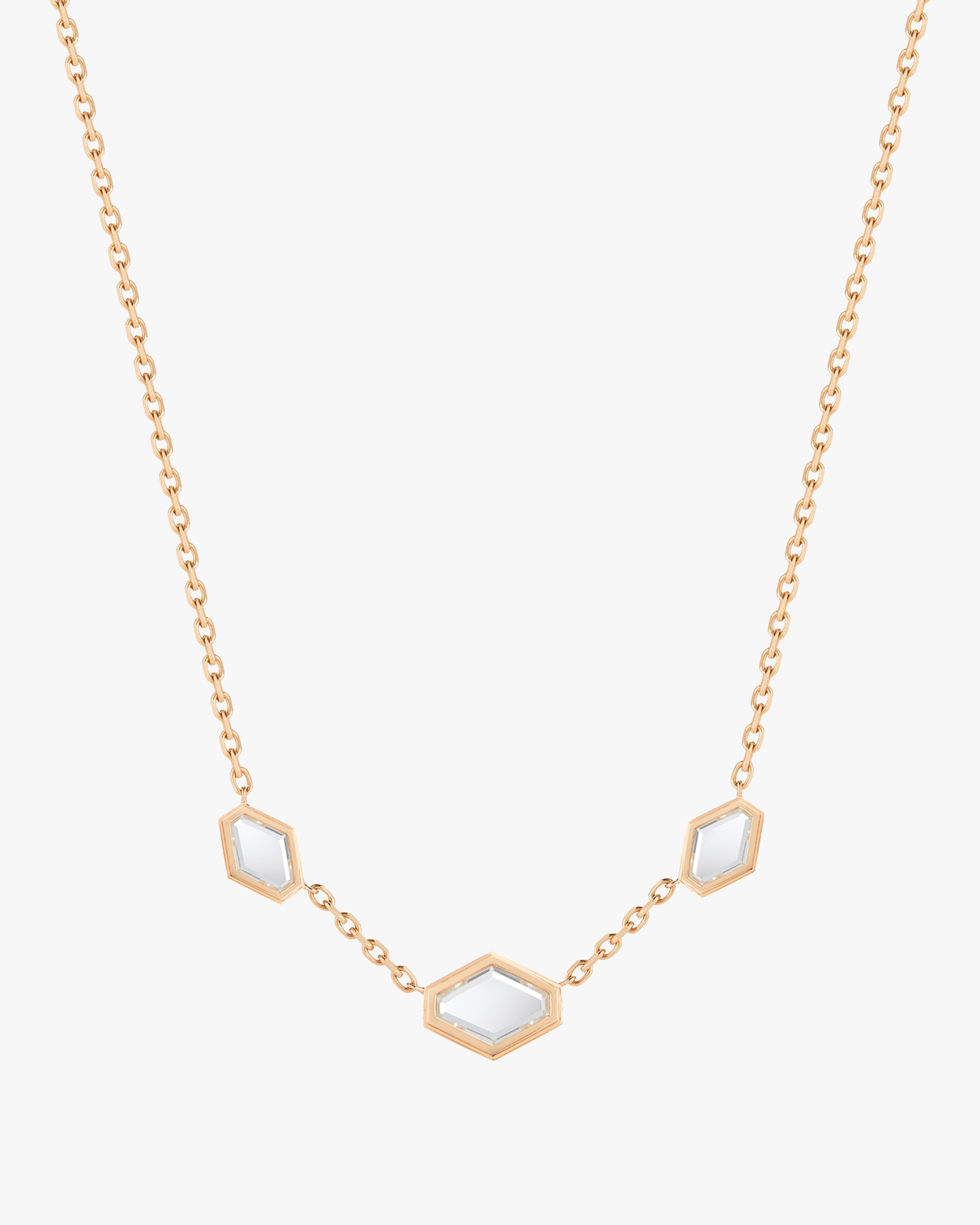 Walters Faith Bell Three Rock Crystal Element Necklace | Yellow Gold/diamond