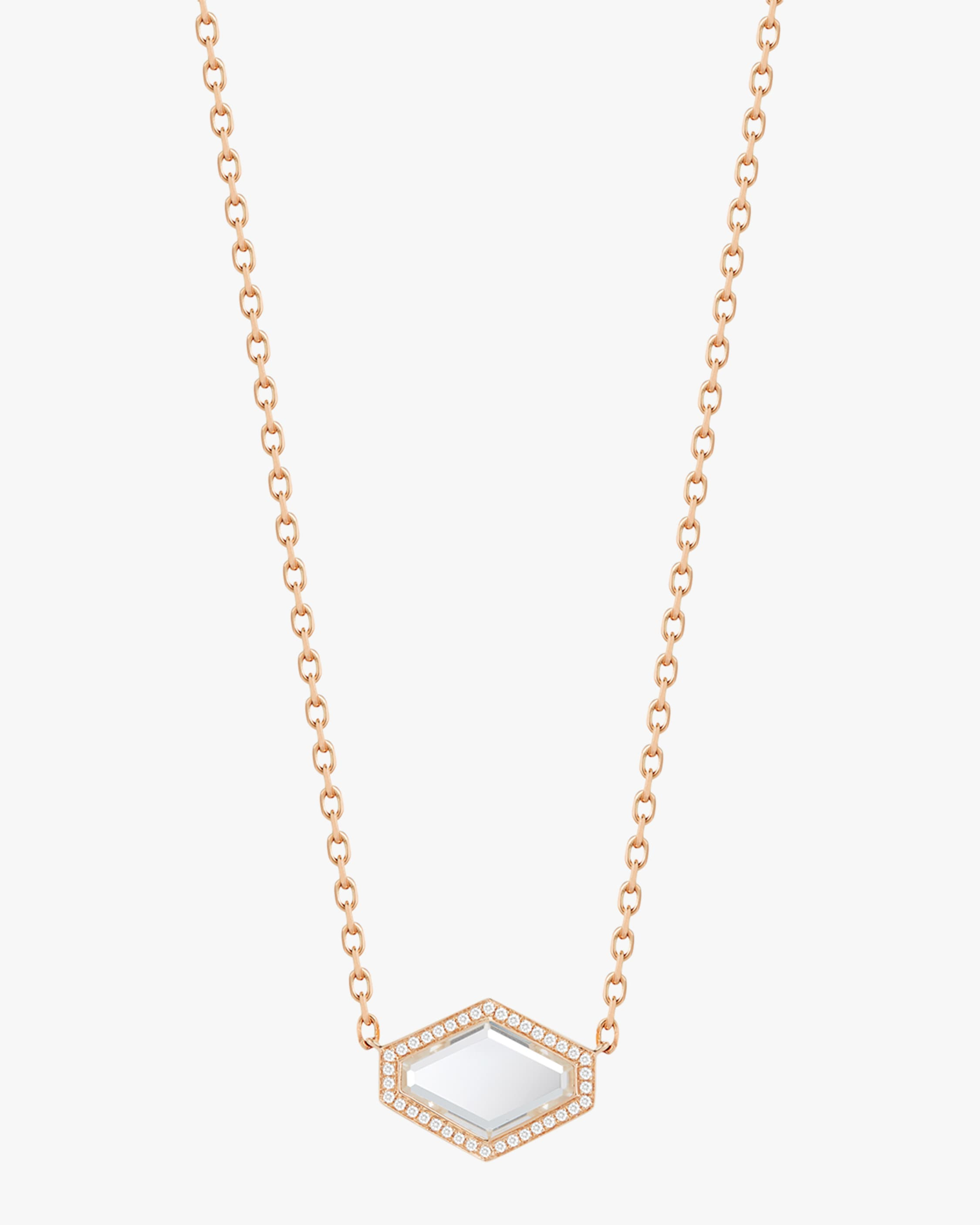 Walters Faith Bell Diamond Rock Crystal Hexagon Necklace | Diamonds/rose Gold