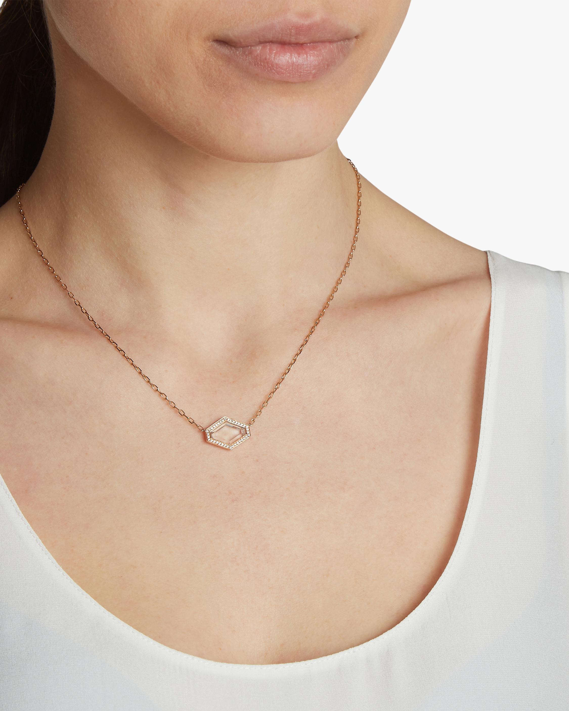Bell Diamond Rock Crystal Hexagon Necklace