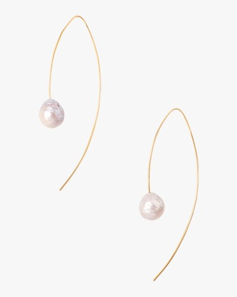 Grey Pearl Reverse Hoop Earrings