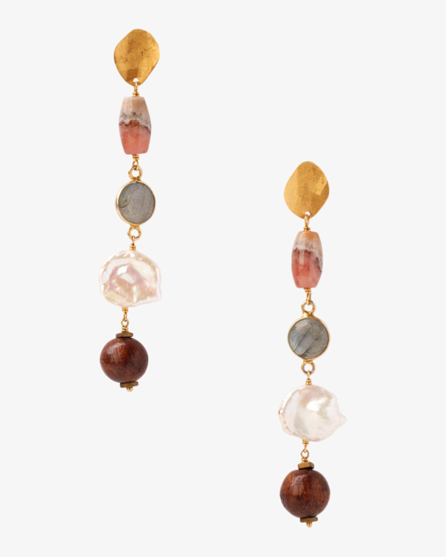 Pearl & Wood Drop Earrings