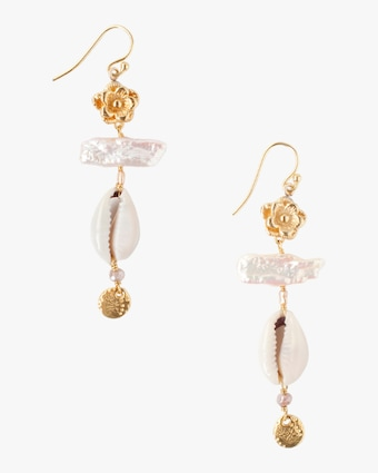 Pearl & Shell Drop Earrings