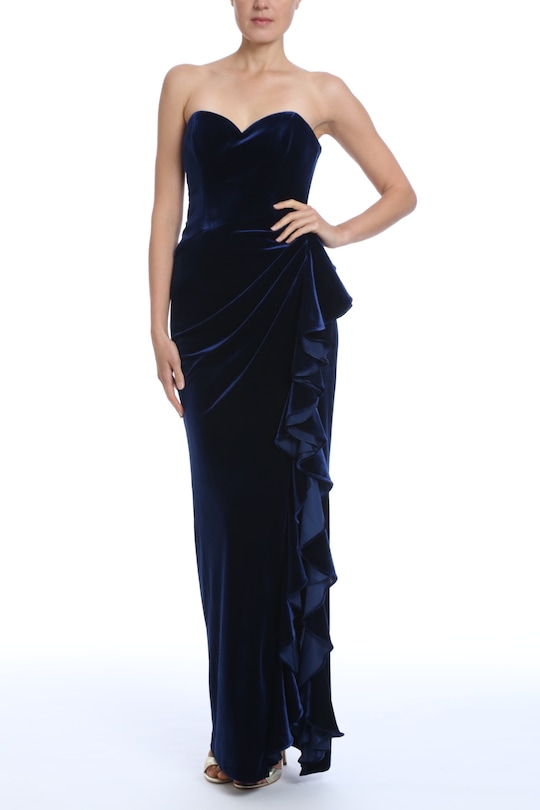 Badgley Mischka Velvet Ruffle Strapless Gown 0
