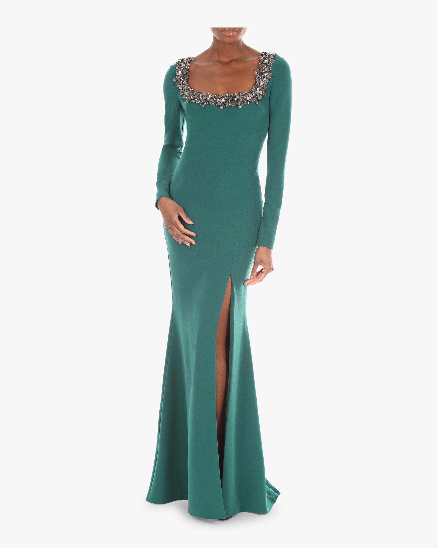 Embellished Scoop Neck Gown
