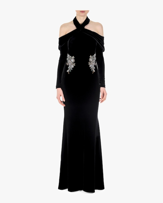 Badgley Mischka Halter Draped Gown 0