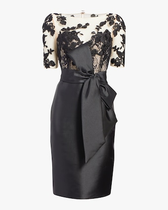 Badgley Mischka Lace Sleeve Bow Dress 1
