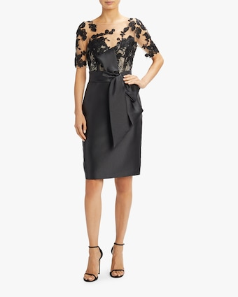 Badgley Mischka Lace Sleeve Bow Dress 2