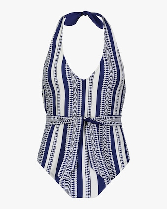 Luchia Deep V Belted One-Piece Swimsuit