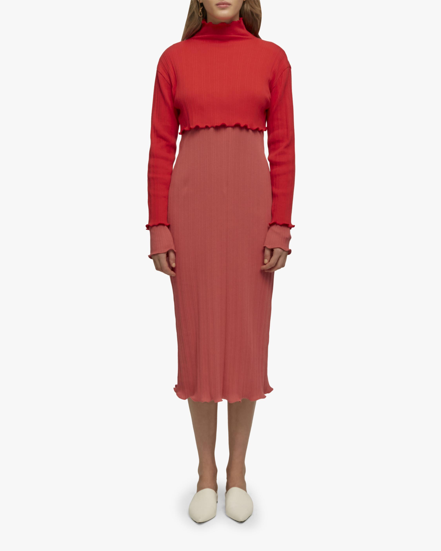 Ruffled Edge Ribbed Dress