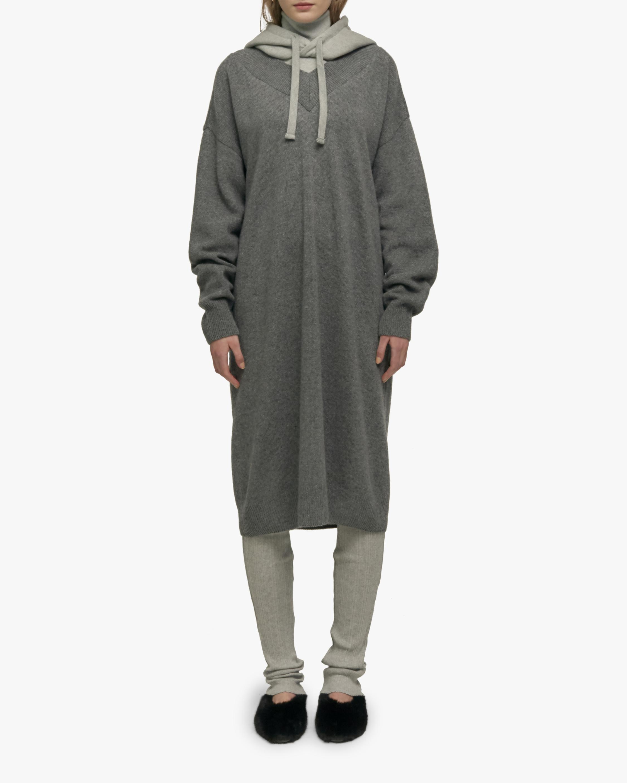 Hooded Layered Knit Dress