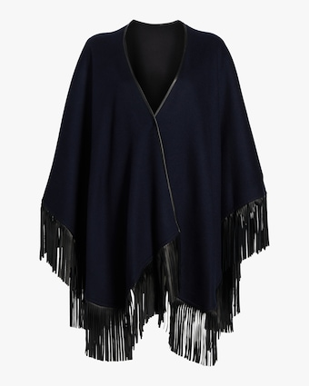 Cashmere Leather Fringe Wrap Cape