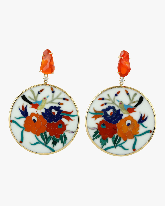 Fire Opal Floral Drop Earrings