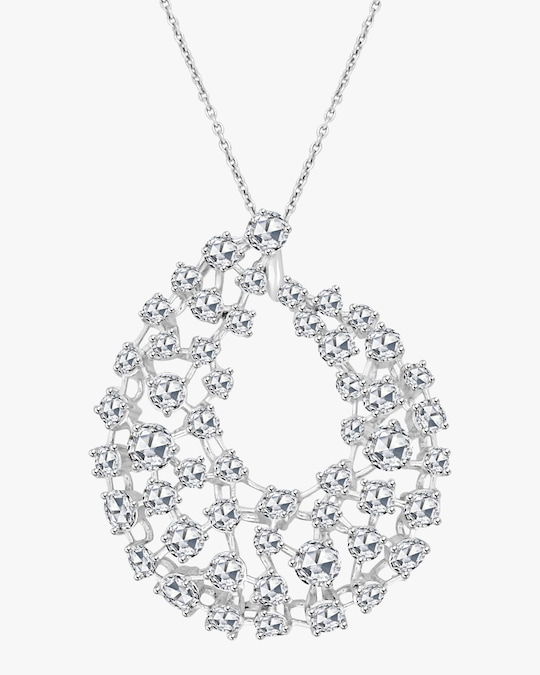 Ashley Morgan Rose Cut Diamond Arc Pendant Necklace 0