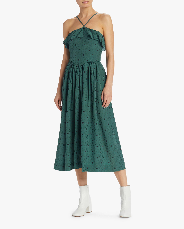 Ditsy Jacquard Halter Dress