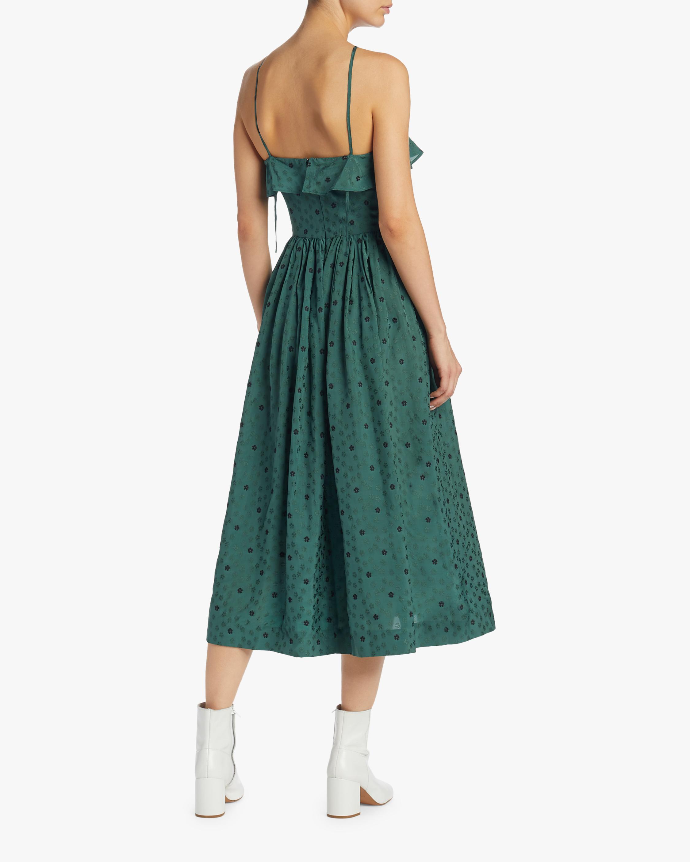 ALEXACHUNG Ditsy Jacquard Halter Dress 2