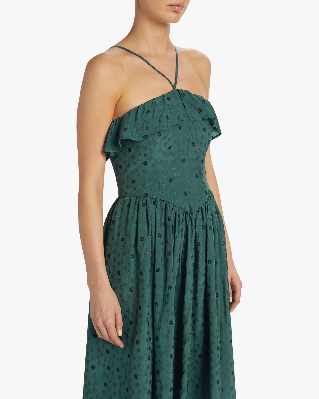 ALEXACHUNG Ditsy Jacquard Halter Dress 3
