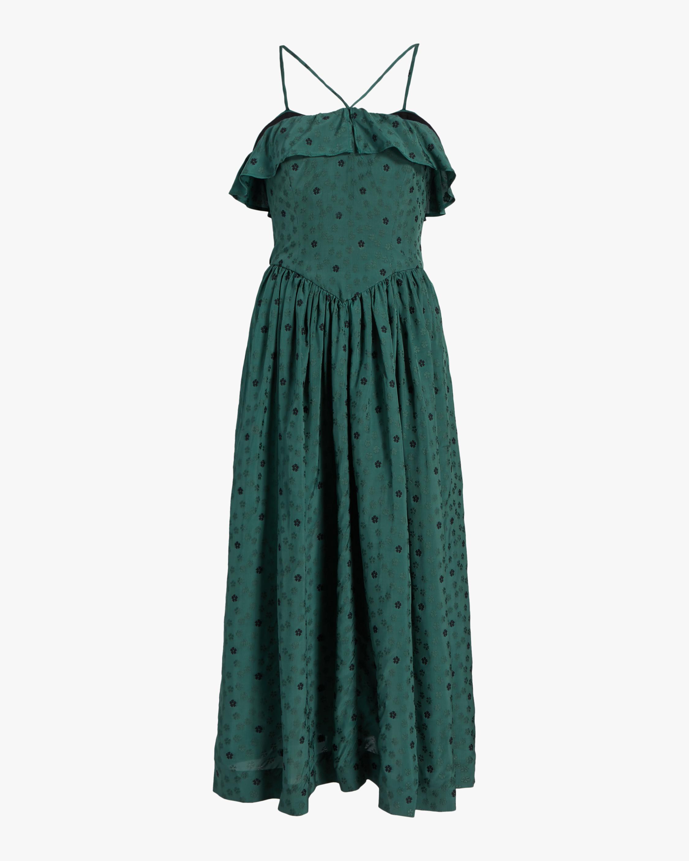 ALEXACHUNG Ditsy Jacquard Halter Dress 0