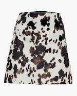 ALEXACHUNG Faux Hide Print Mini Skirt 0