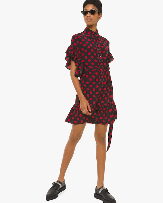 Michael Kors Collection Ruffle Sleeve Shirt Dress 0