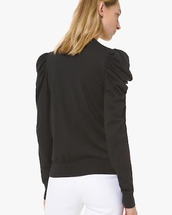 Ruched Sleeve Crewneck Sweater