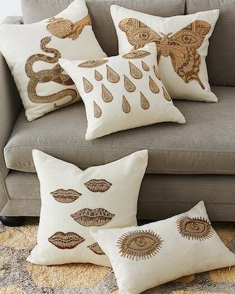 Jonathan Adler Muse Snake & Apple Throw Pillow 2